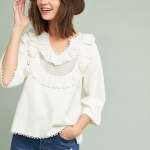 Anthropologie Iris Bibbed Blouse